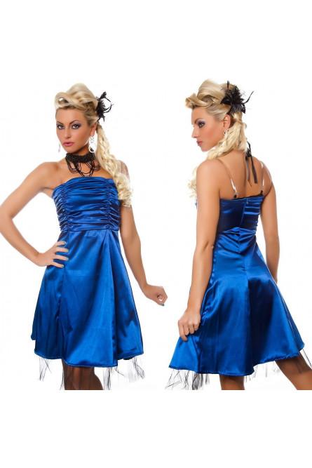 Синее платье без бретелек