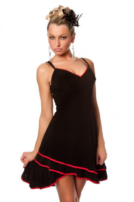 Чёрное платье с красной отделкой
