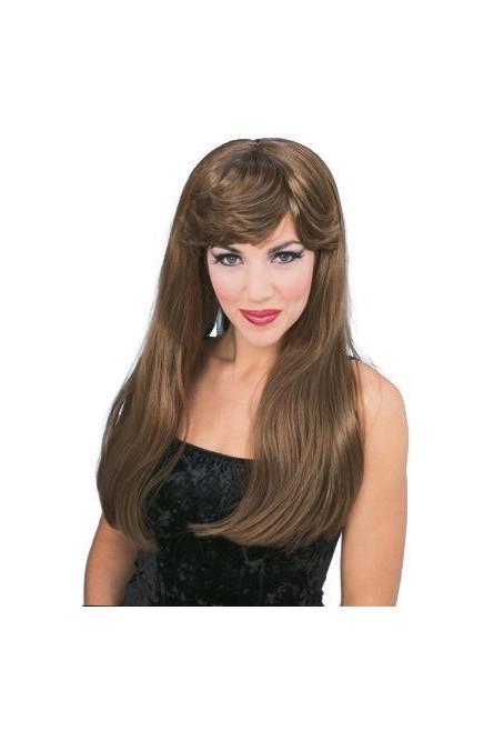Гламурный парик шатенки (UNI), Коричневый