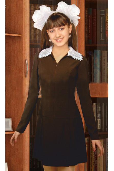 Коричневое школьное платье (40), Коричневый