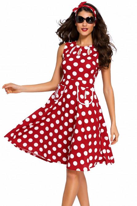 ade0d87298f Красное платье в белый горошек - купить на Vkostume.Ru
