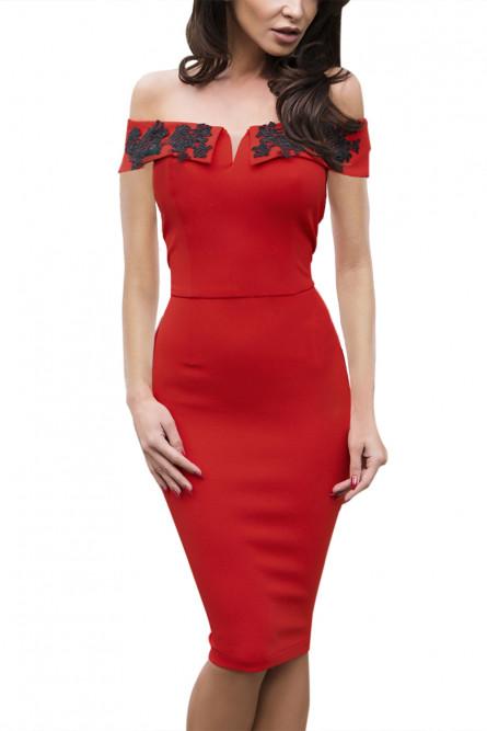 43432019187 Красное платье футляр с узором - купить на Vkostume.Ru