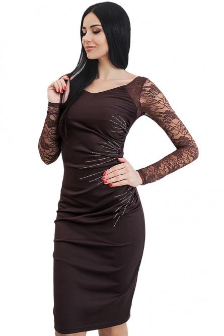 c100a764a03 Черное платье с узорными рукавами - купить на Vkostume.Ru