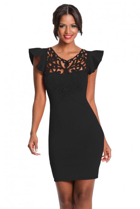 8b0086eb4fa Черное платье с ажурной вставкой - купить на Vkostume.Ru