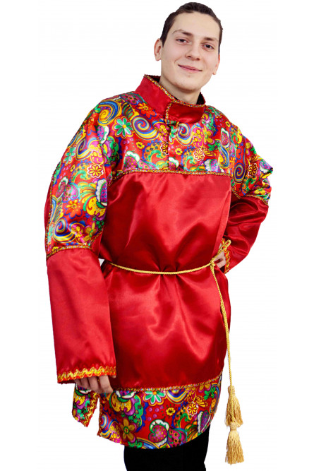 Взрослая красная рубаха с узорами