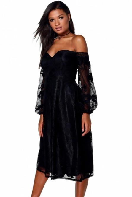 00a40894a95 Черное платье с прозрачными рукавами - купить на Vkostume.Ru ...