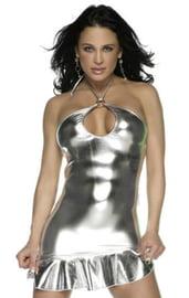 Клубное серебристое виниловое платье КП-5