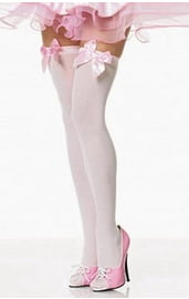 Чулки с нежно-розовыми бантами