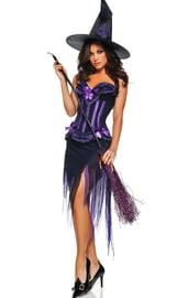 Костюм-корсет ведьмы фиолетовый