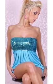 Платье голубое с блестками