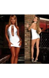 Откровенное белое мини-платье