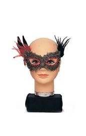Маска на глаза из серых перьев с красными паетками