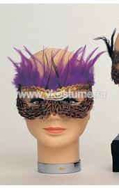 Маска на глаза с коричневыми и фиолетовыми перьями