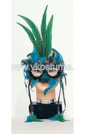 Маска с сине-зелеными перьями