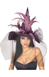 Шляпка ведьмы с перьями