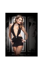 Платье черное с V-образным вырезом