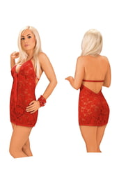 Платье красное кружевное с открытой спиной