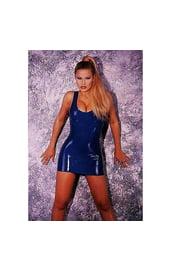 Латексное синее мини платье