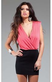 Розово-черное платье