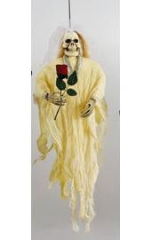 Подвесная фигура невеста-скелет с красной розой в руке 90см