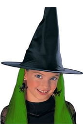 Детская шляпа ведьмы с зелеными волосами