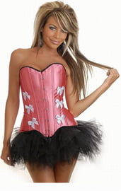Розовый корсет с белыми бантами и юбкой