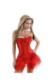 Корсет с юбкой - красный бурлеск
