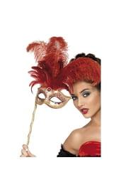 Карнавальная маска с перьями на палочке