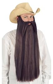 Длинная борода и усы коричневого цвета