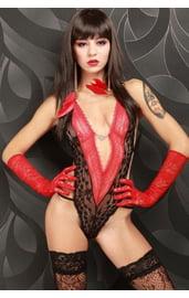 Черно-красное открытое боди