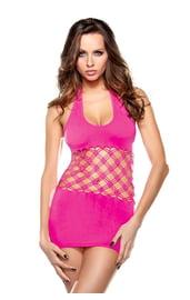 Розовое платье с сетчатой вставкой