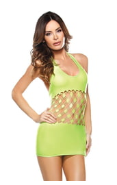 Яркое зеленое платье с сетчатой вставкой