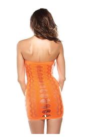 Оранжевое яркое платье без бретелек