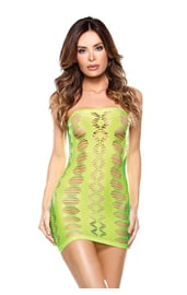 Зеленое яркое платье без бретелек