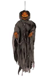 Подвесная фигурка черной тыквы в черном плаще