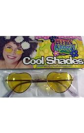 Хипповые очки желтые сердечки