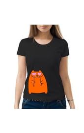 Женская футболка Кот с сердечками