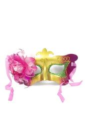 Карнавальная маска с ярким розовым цветком