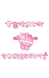 Розовая гирлянда С днем рождения