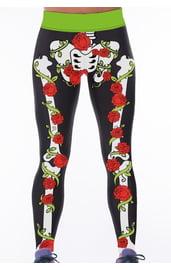Леггинсы с костями и розами