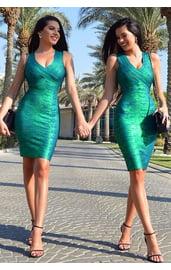 Зеленое блестящее платье Dlx