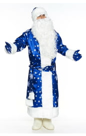 Синий костюм Деда Мороза со снежинками