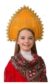 Детский оранжевый кокошник