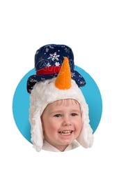 Меховая шапочка-маска Снеговичок
