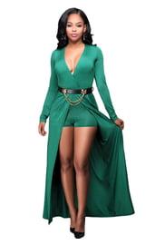 Зеленое платье-комбинезон