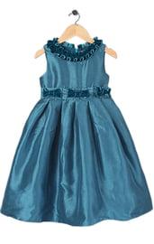 Синее платье с оборками