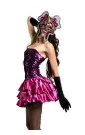 Блестящее фиолетовое платье