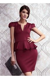 Бордовое платье с баской