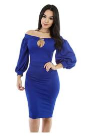 Синее платье с пышными рукавами