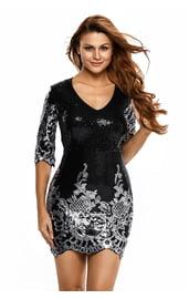 Черное блестящее платье с серебром